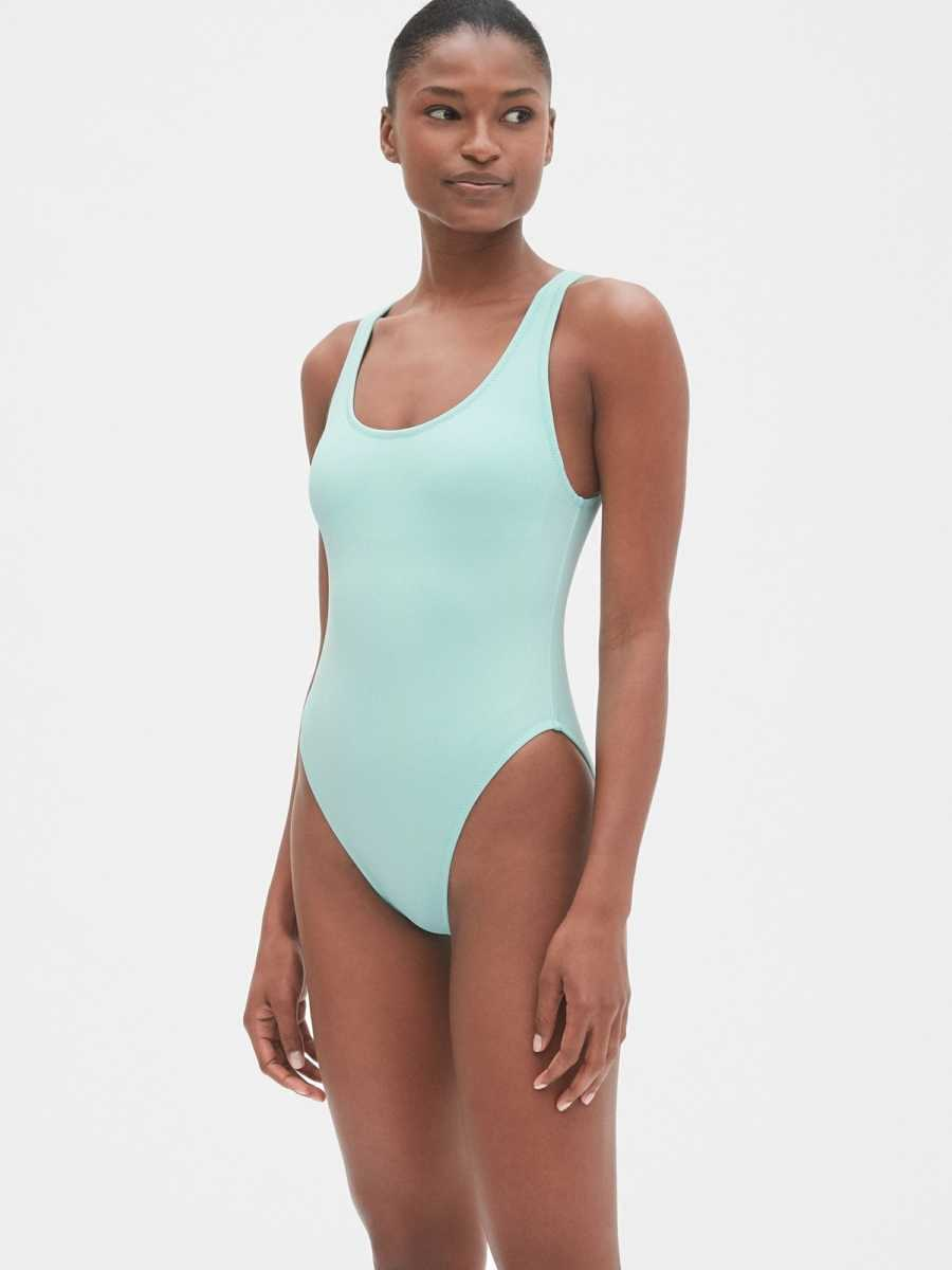 High Leg One-Piece Suit Ballerina Blue - Gap - GOOFASH