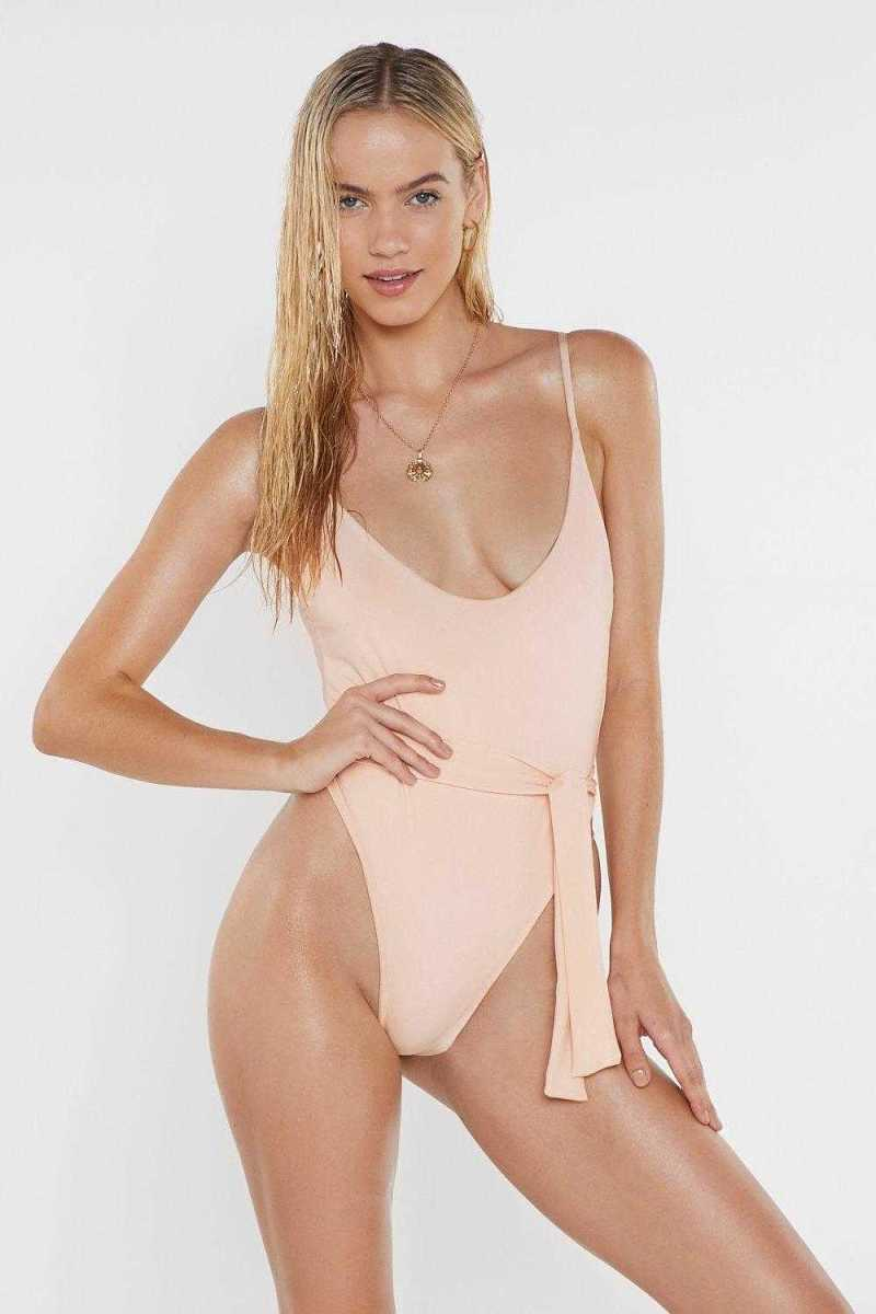High-Legs for Days Belted Swimsuit - Nasty Gal - GOOFASH