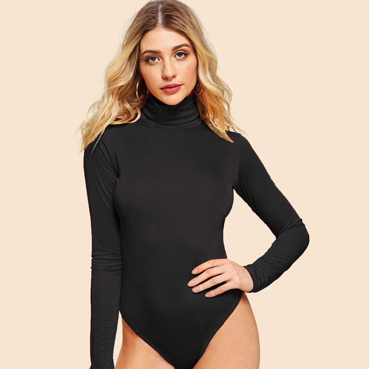 High Neck Skinny Bodysuit - Shein - GOOFASH