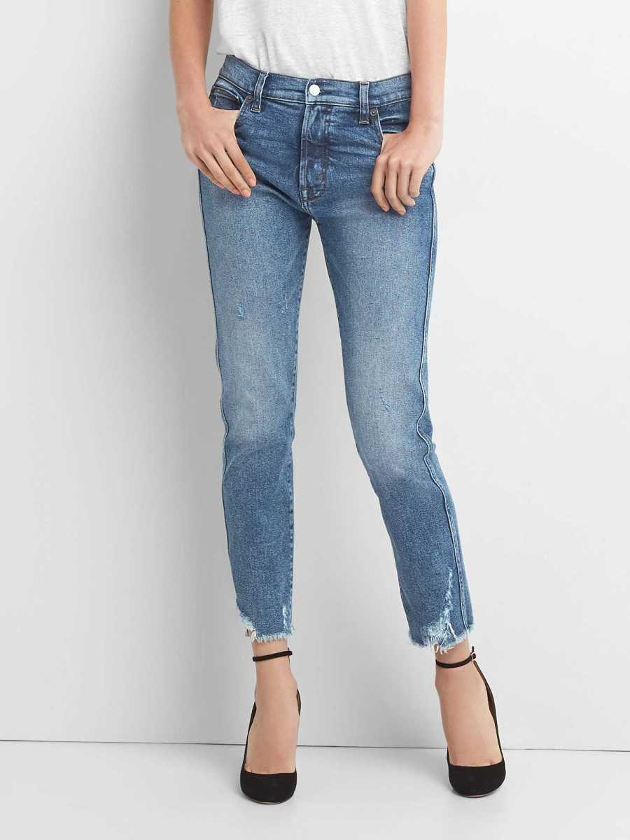 High Rise Slim Straight Jeans with Distressed Detail (Medium) Medium Destroy - Gap - GOOFASH