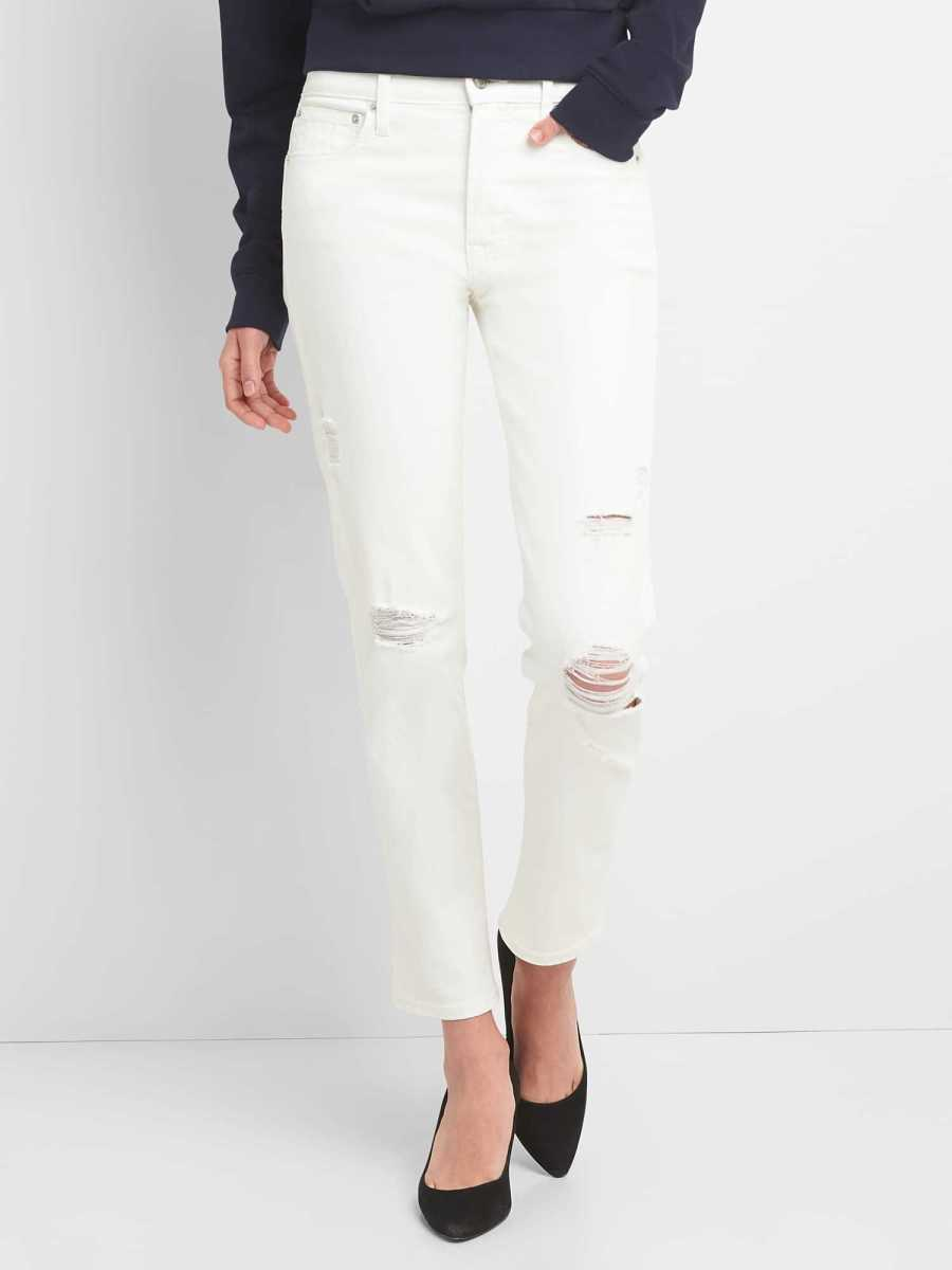 High Rise Slim Straight Jeans with Distressed Detail (White) Off White - Gap - GOOFASH