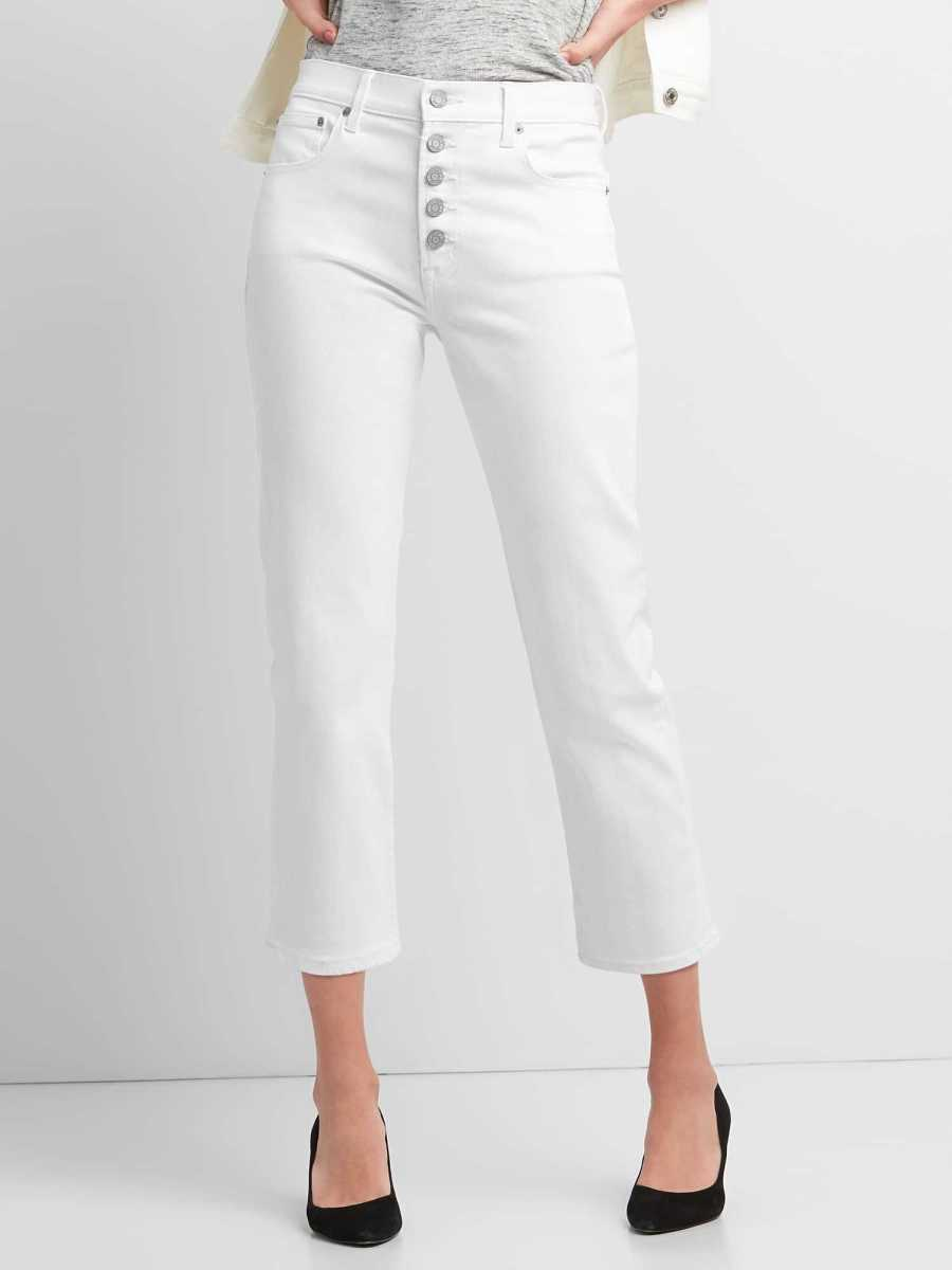 High Rise Straight Crop Jeans with Button-Fly (White) White - Gap - GOOFASH