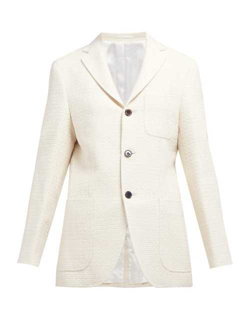 Holiday Boileau - Cavallerie Single Breasted Cotton Tweed Blazer - Cream Cream - Matches Fashion - GOOFASH