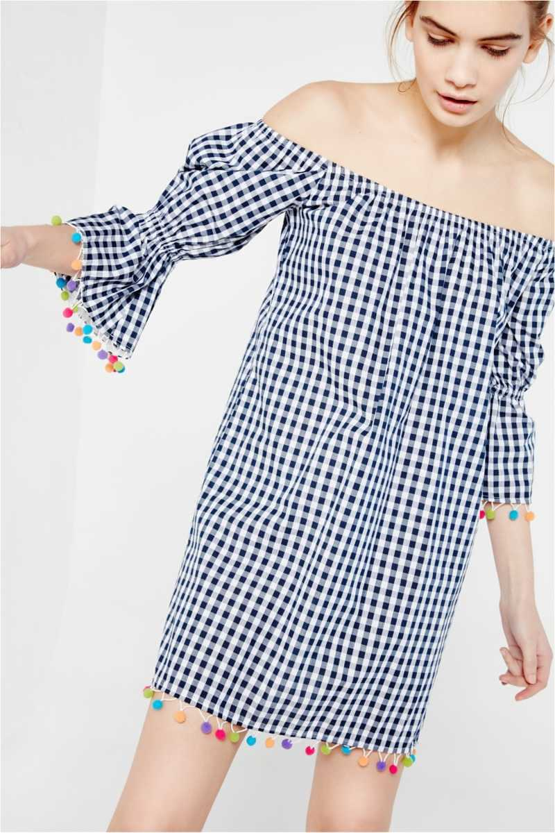 Hot & Delicious Checked Off-The-Shoulder Mini With Pom Pom Detail - Own The Look - GOOFASH