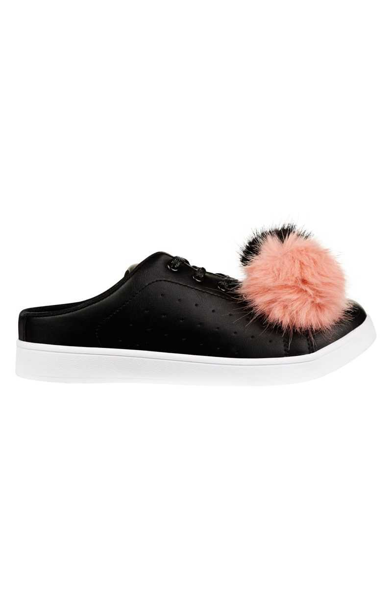 Hot Soles Trainer With Large Pom Pom - Black - Own The Look - GOOFASH