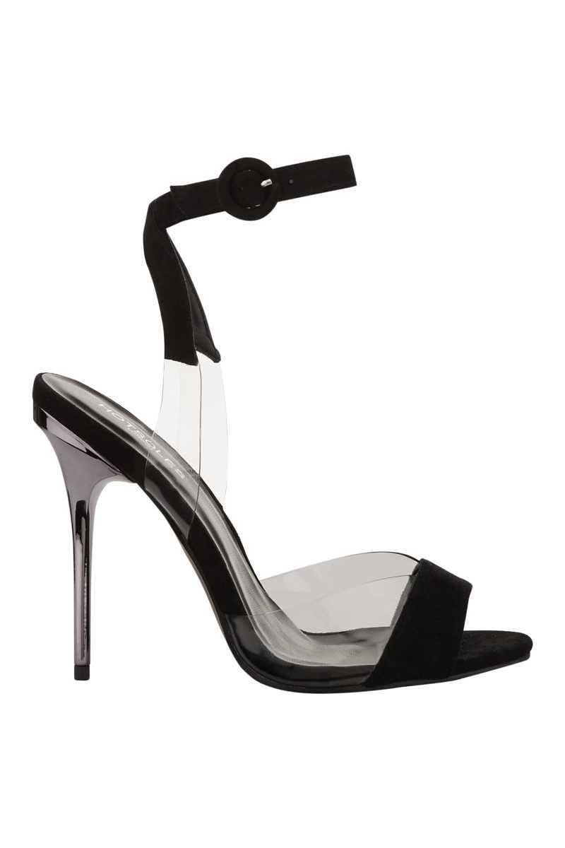 Hot Soles Velvet Stiletto With Perspex Strap - Black - Own The Look - GOOFASH