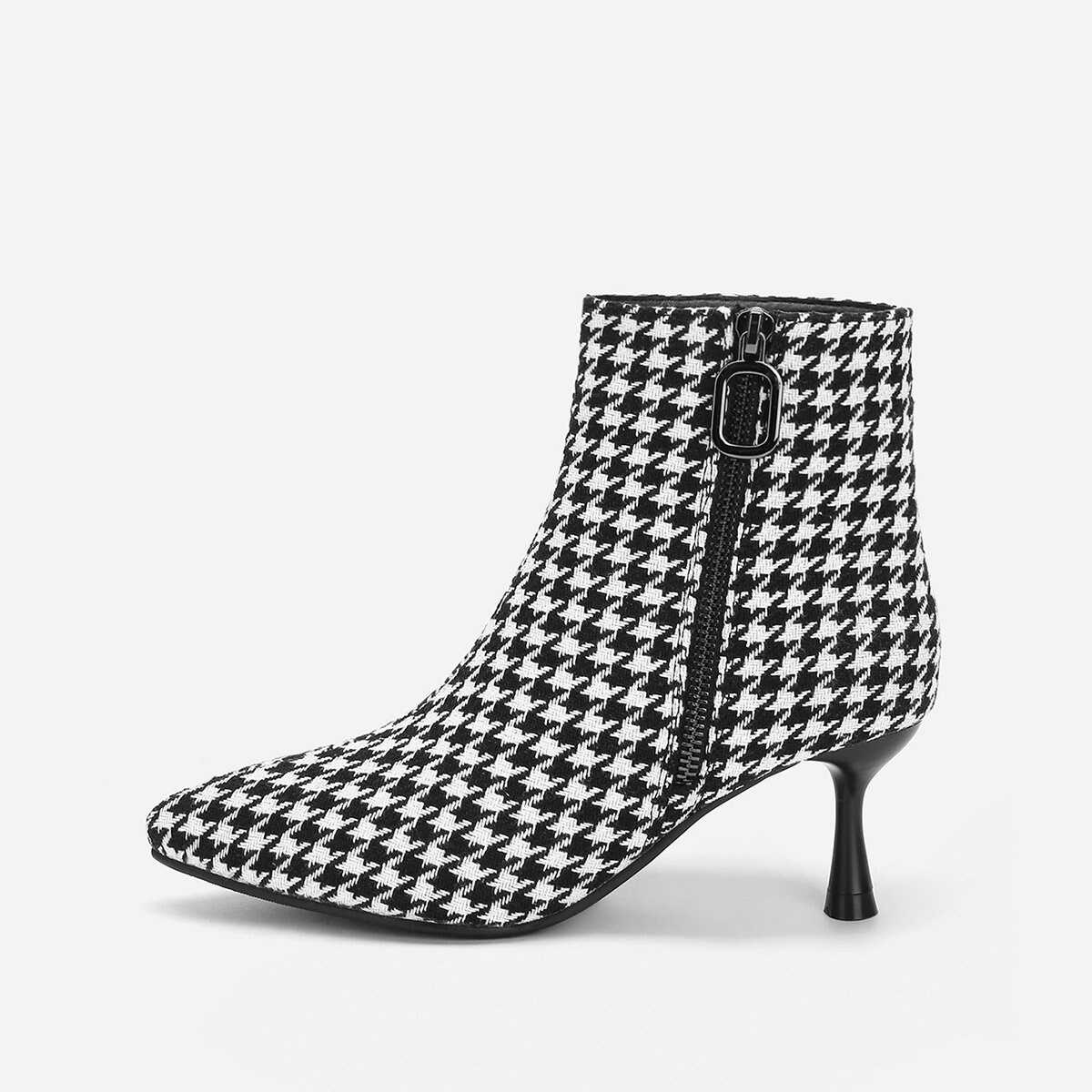 Houndstooth Print Point Toe Ankle Boots - Shein - GOOFASH