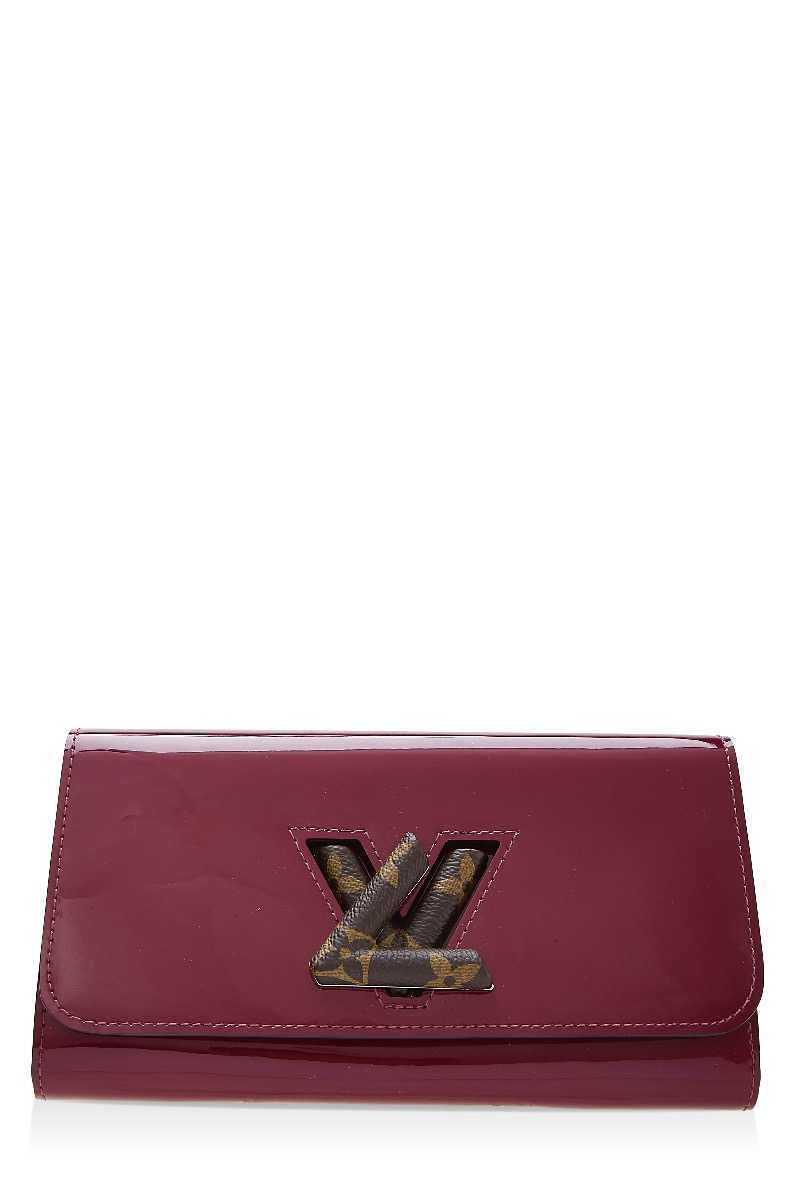 Indian Rose Patent Leather Portefeuille Twist Wallet - What Goes Around Comes Around - GOOFASH