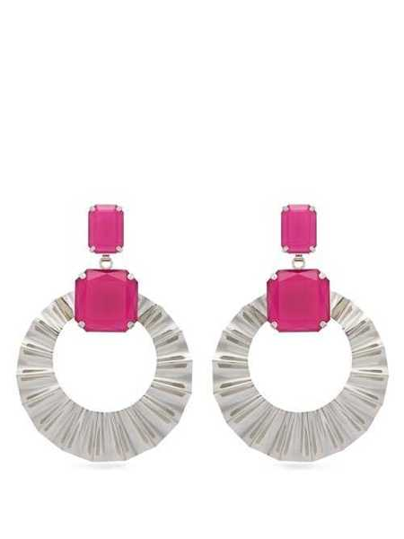 Isabel Marant - Crystal And Hoop Drop Earrings - Pink Pink - Matches Fashion - GOOFASH