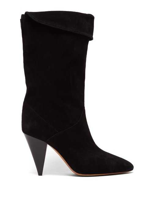 Isabel Marant - Lestee Slouched Suede Slouch Boots - Black Black - Matches Fashion - GOOFASH