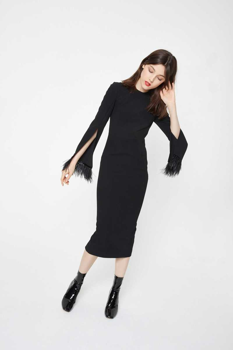 Isla Midi Dress With Feather Cuff Detailing - Own The Look - GOOFASH