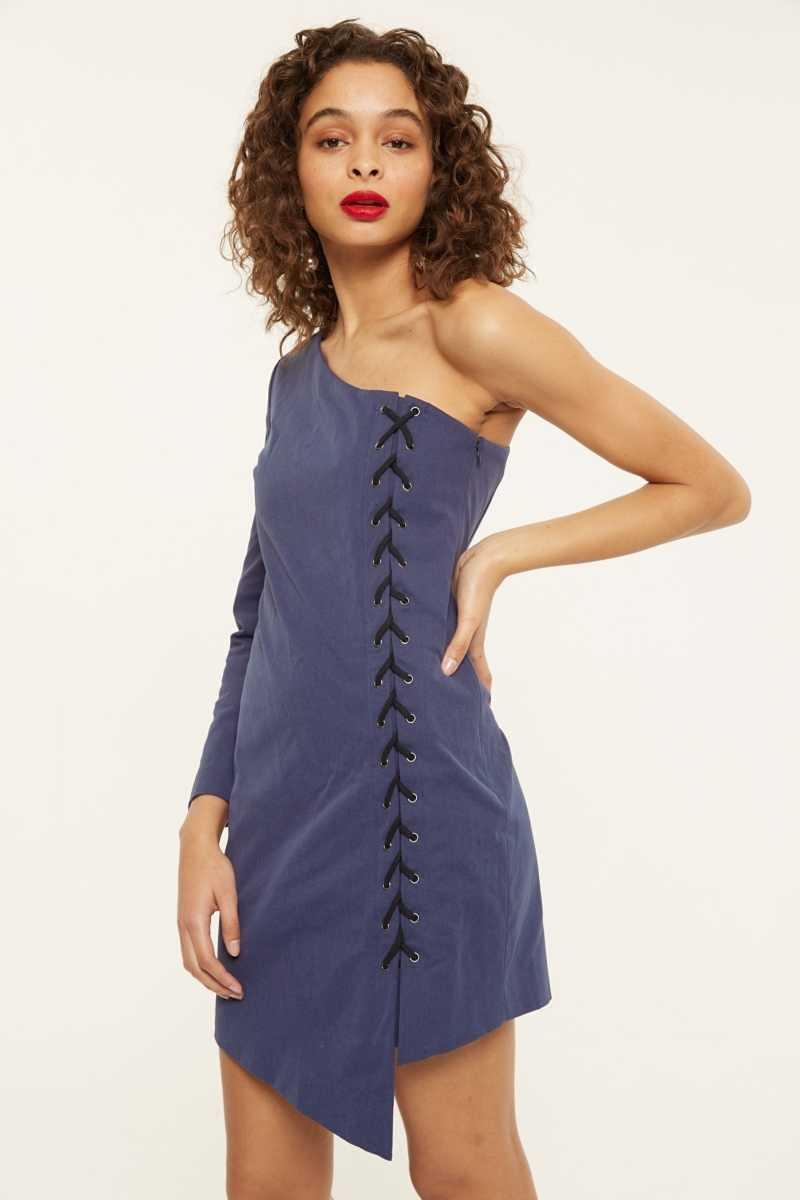 Isla One-Shoulder Lace Up Mini Dress  - Navy - Own The Look - GOOFASH