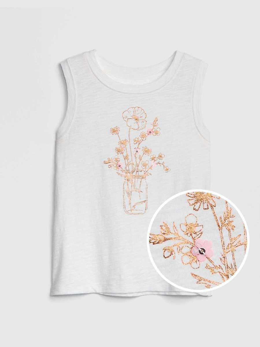 Kids Applique Graphic Tank Top Ivory Frost - Gap - GOOFASH