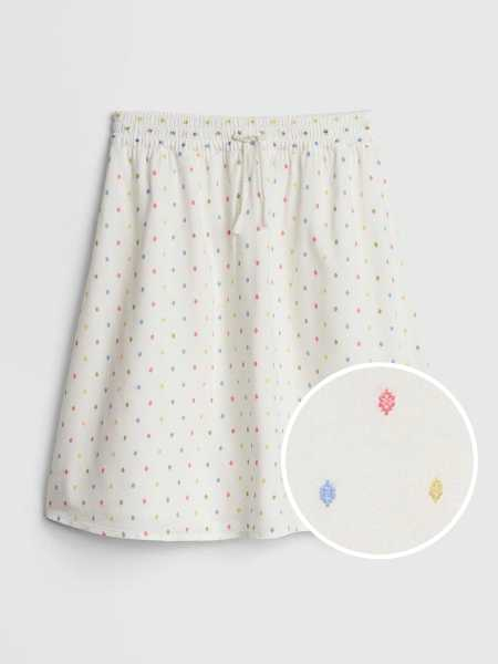 Kids Embroidered Midi Skirt Ivory Frost - Gap - GOOFASH