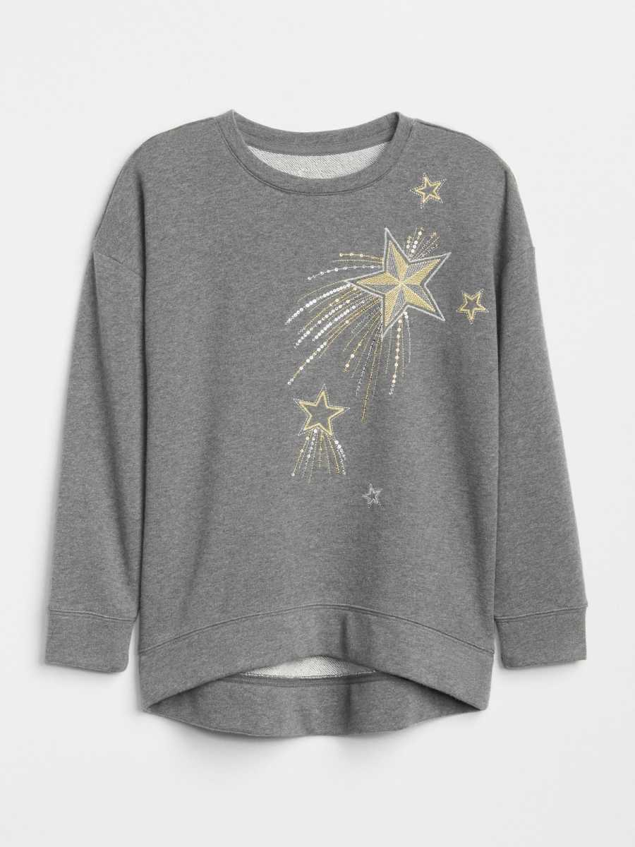 Kids Embroidered Star Pullover Sweater Charcoal - Gap - GOOFASH