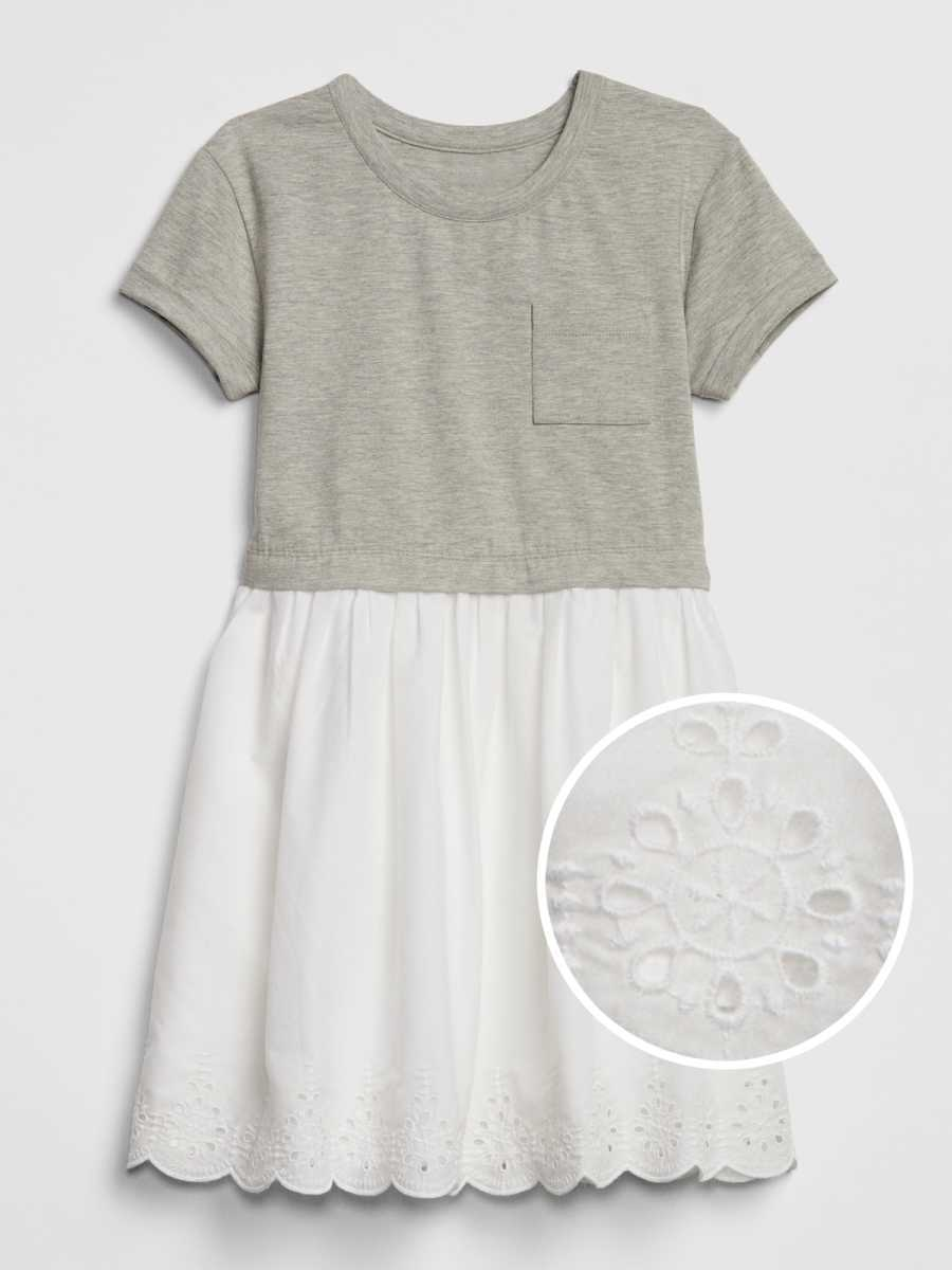 Kids Eyelet Mix-Fabric Dress Grey - Gap - GOOFASH