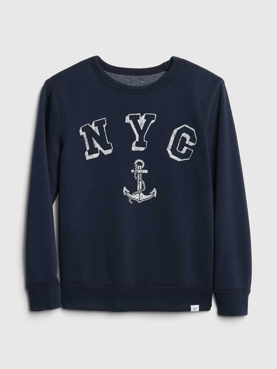 Kids Graphic Long Sleeve T-Shirt Indigo - Gap - GOOFASH