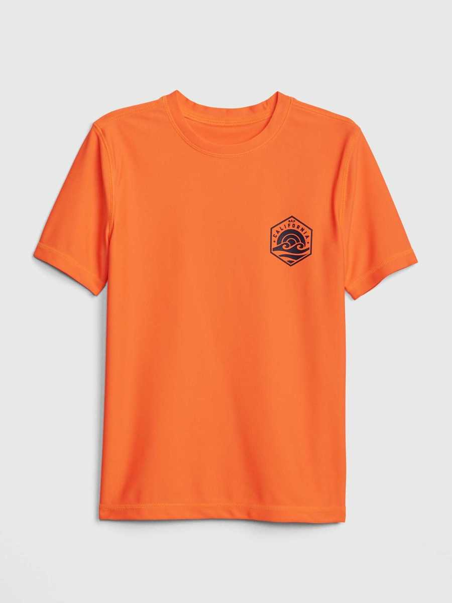 Kids Graphic Short Sleeve Rashguard Shocking Orange - Gap - GOOFASH