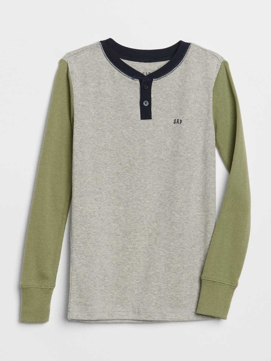 Kids Logo Henley PJ Shirt Light Grey - Gap - GOOFASH