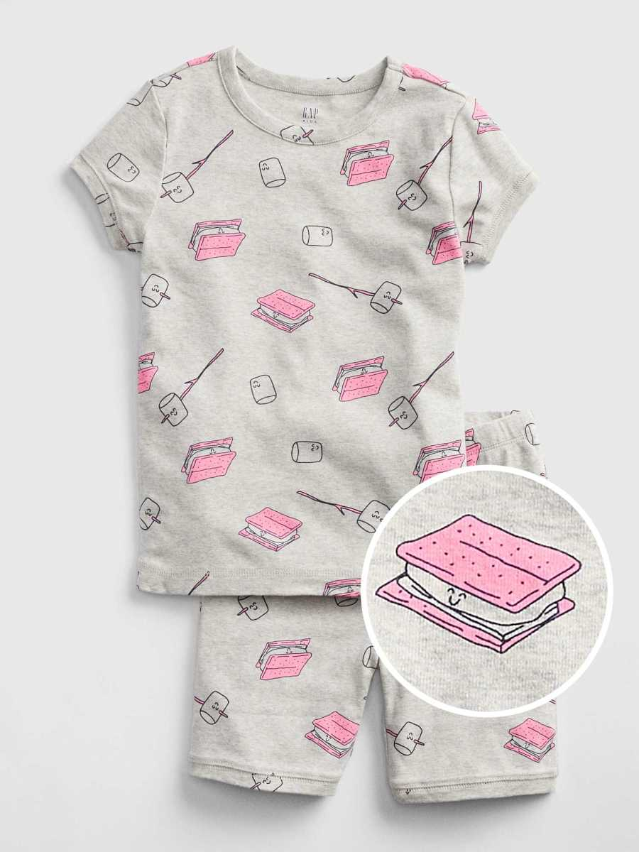 Kids Marshmallow Short Pj Set Grey Heather B03 - Gap - GOOFASH