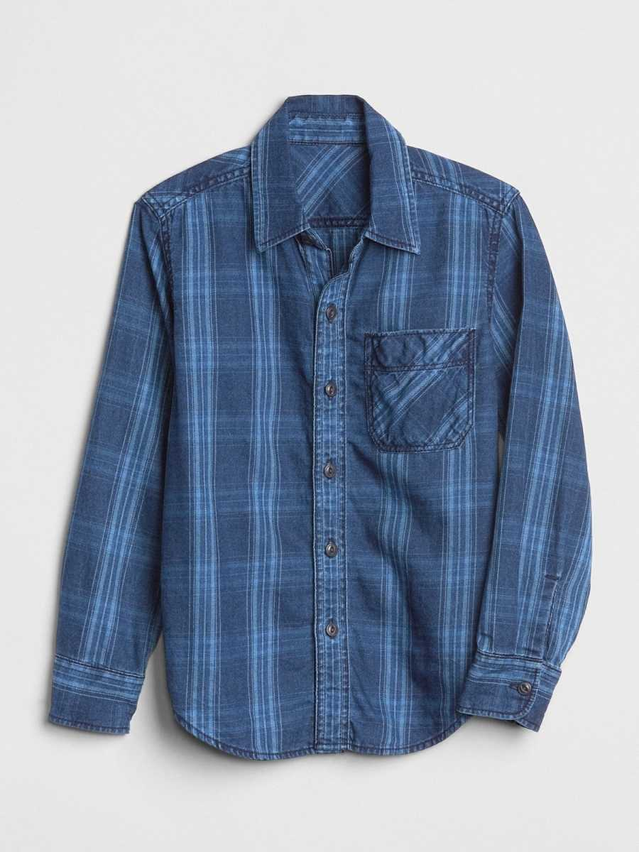 Kids Plaid Long Sleeve Shirt Dark Indigo Plaid - Gap - GOOFASH