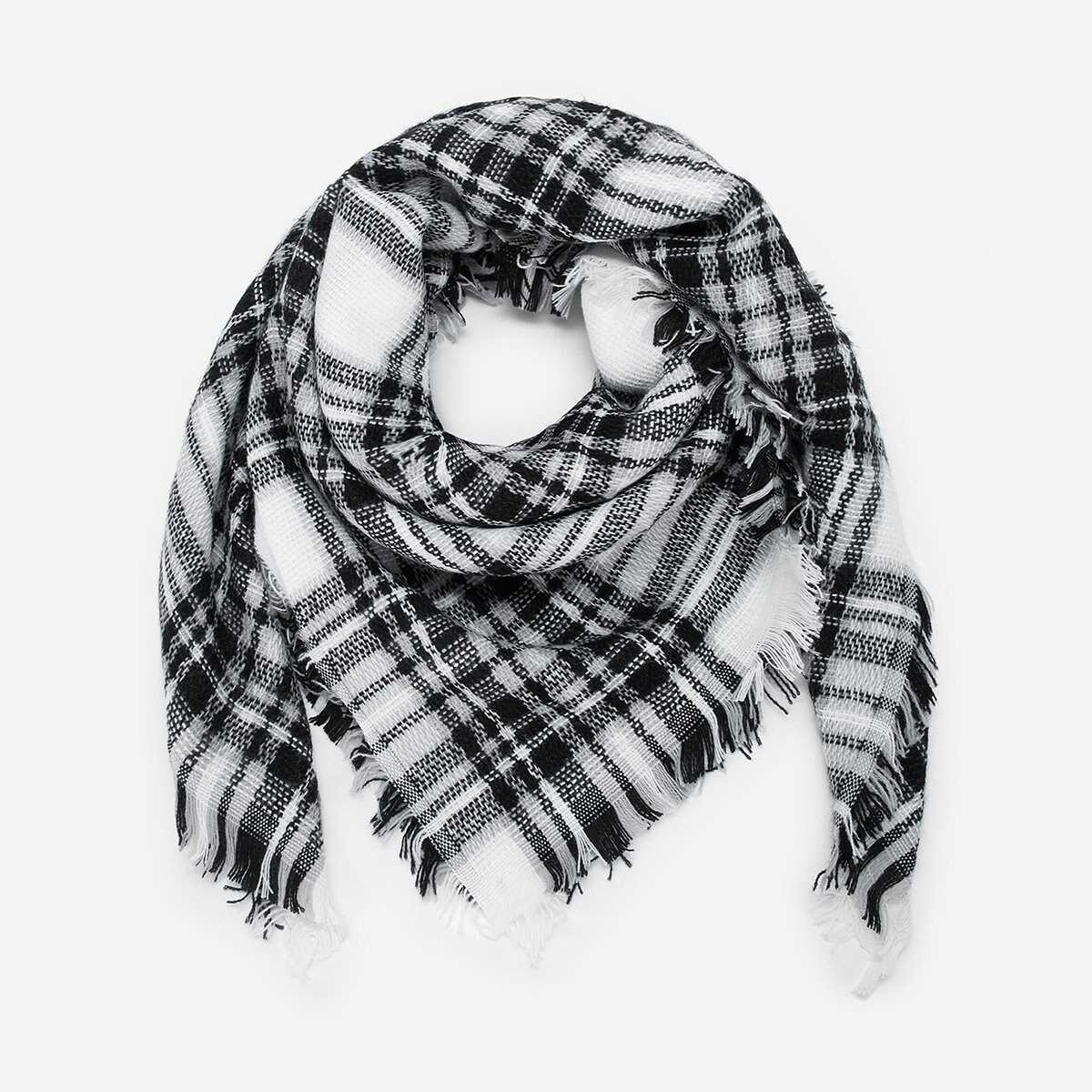 Kids Plaid Pattern Scarf - Shein - GOOFASH