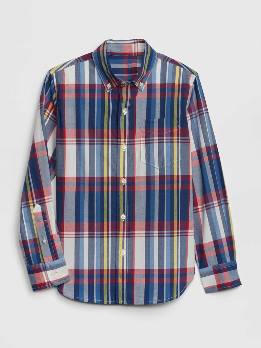 Kids Poplin Plaid Long Sleeve Shirt Red And Navy Plaid - Gap - GOOFASH