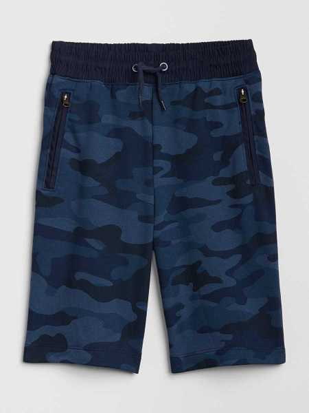 Kids Pull-On Shorts In French Terry Blue Camo - Gap - GOOFASH