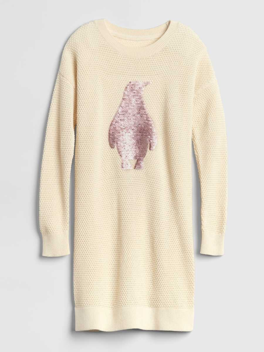 Kids Sequin Penguin Sweater Dress French Vanilla - Gap - GOOFASH