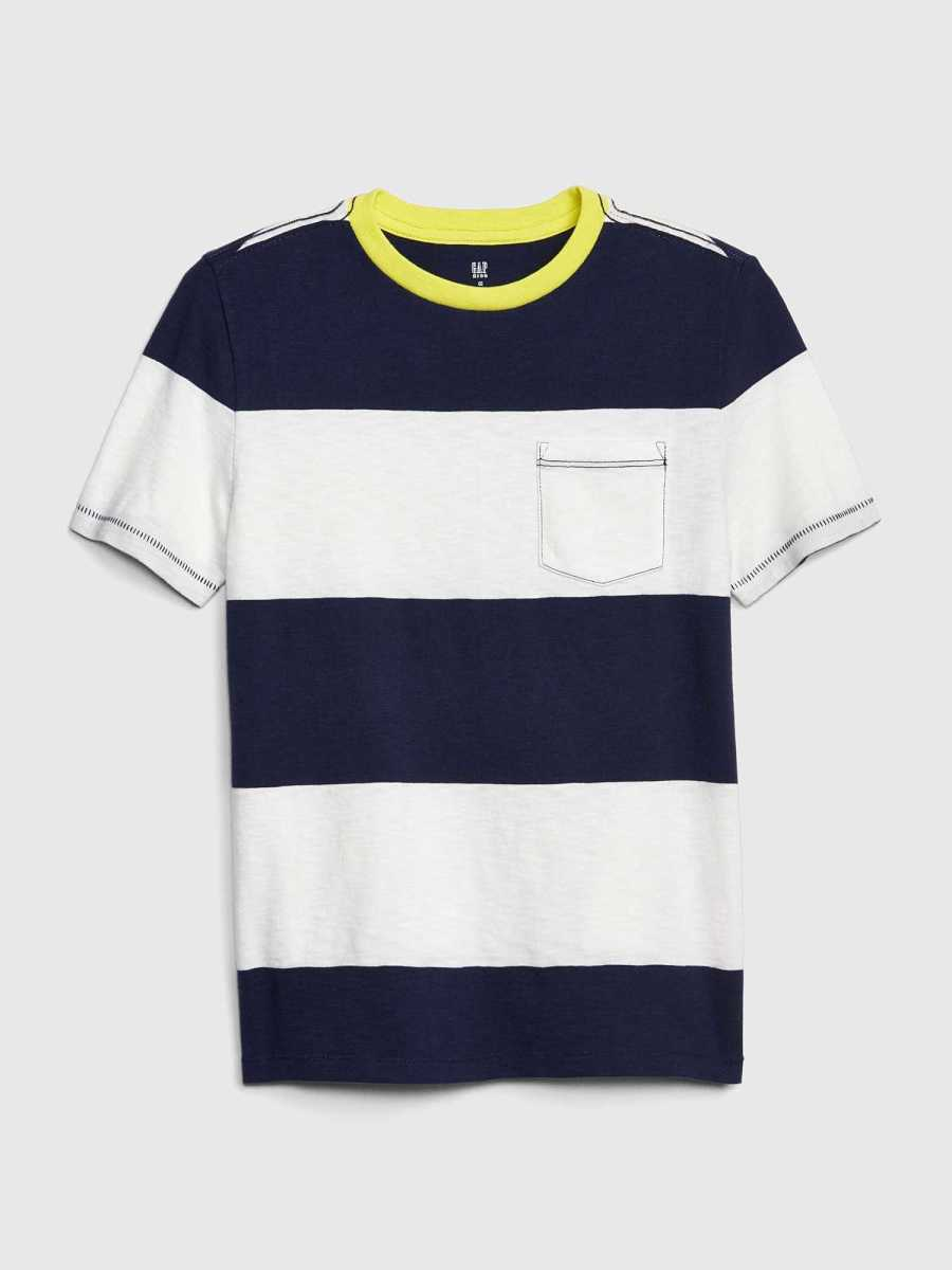 Kids Stripe Short Sleeve T-Shirt Off White - Gap - GOOFASH