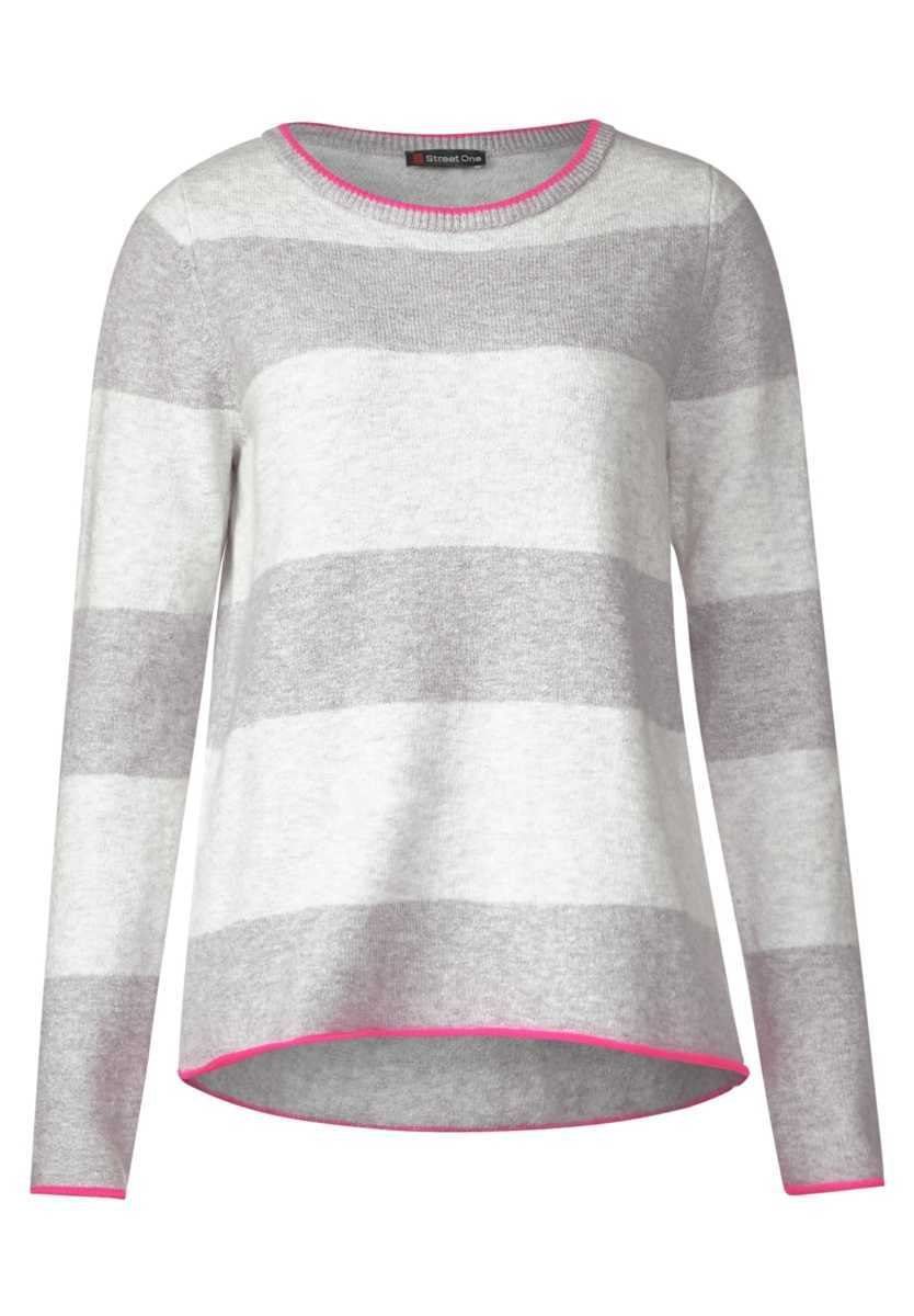Knitted sweater with stripes - moon gray melange - Street One - GOOFASH