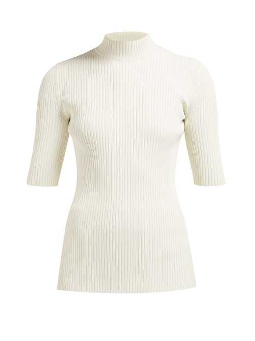 Kwaidan Editions - High Neck Stretch Ribbed Knit Top - Ivory Ivory - Matches Fashion - GOOFASH
