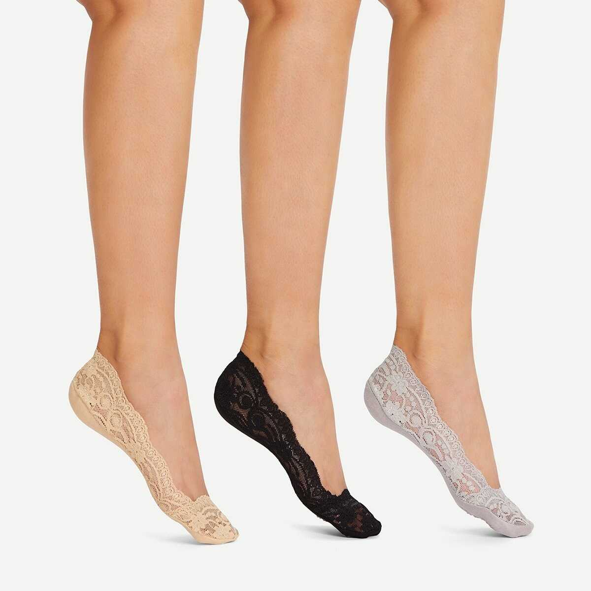 Lace Invisible Socks 3Pairs - Shein - GOOFASH