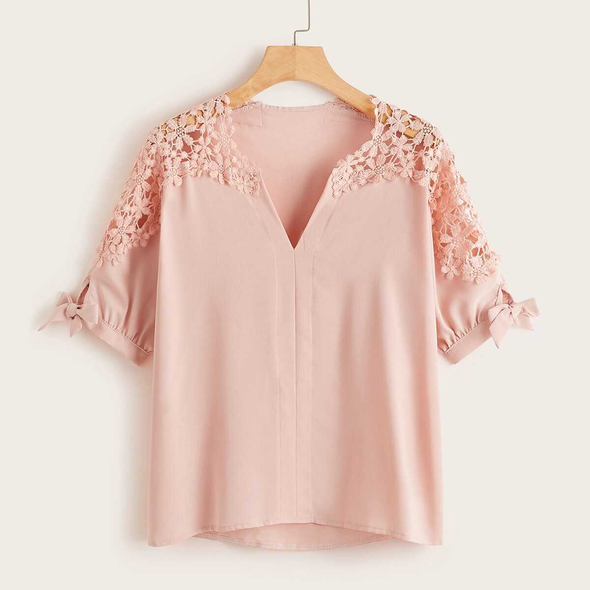 Lace Panel Knot Sleeve Blouse - Shein - GOOFASH