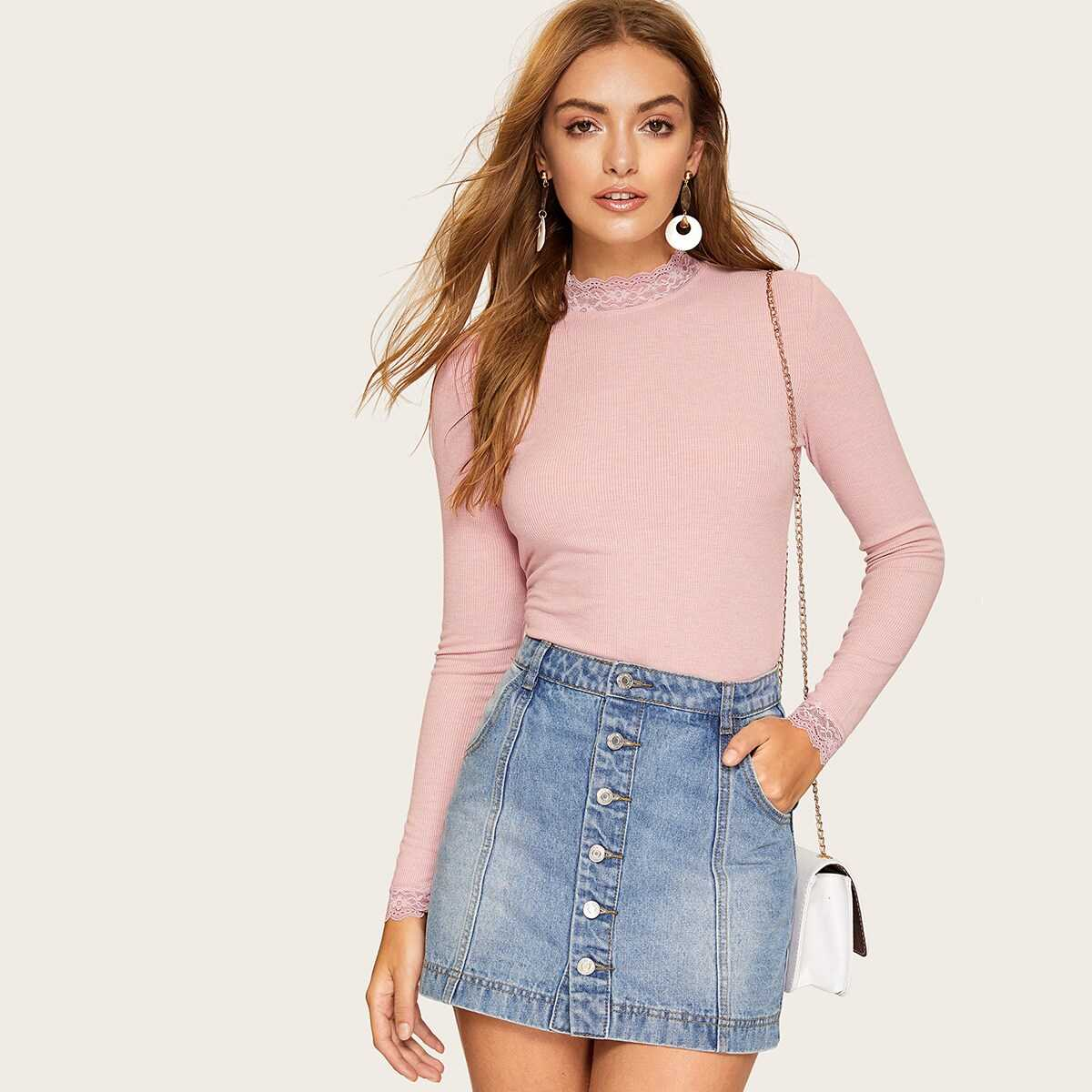 Lace Trim Form Fitted Rib-knit Tee - Shein - GOOFASH