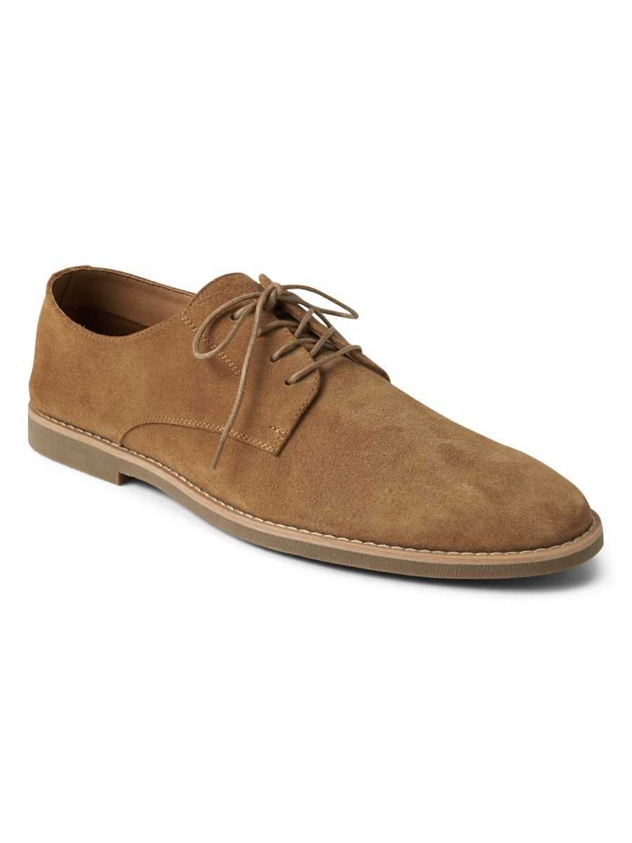 Lace-Up Dress Shoes in Suede Tan - Gap - GOOFASH