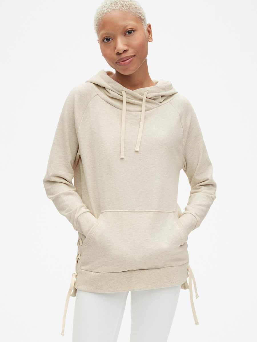 Lace-Up Hoodie Sweatshirt Tunic in French Terry Off White - Gap - GOOFASH