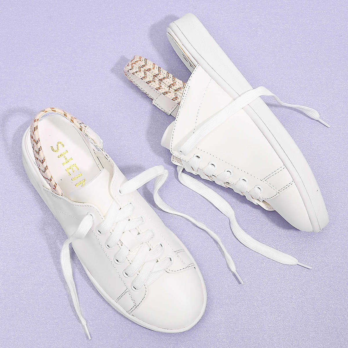 355d094887 Lace Up Round Toe PU Sneakers Shein   GOOFASH SHOP