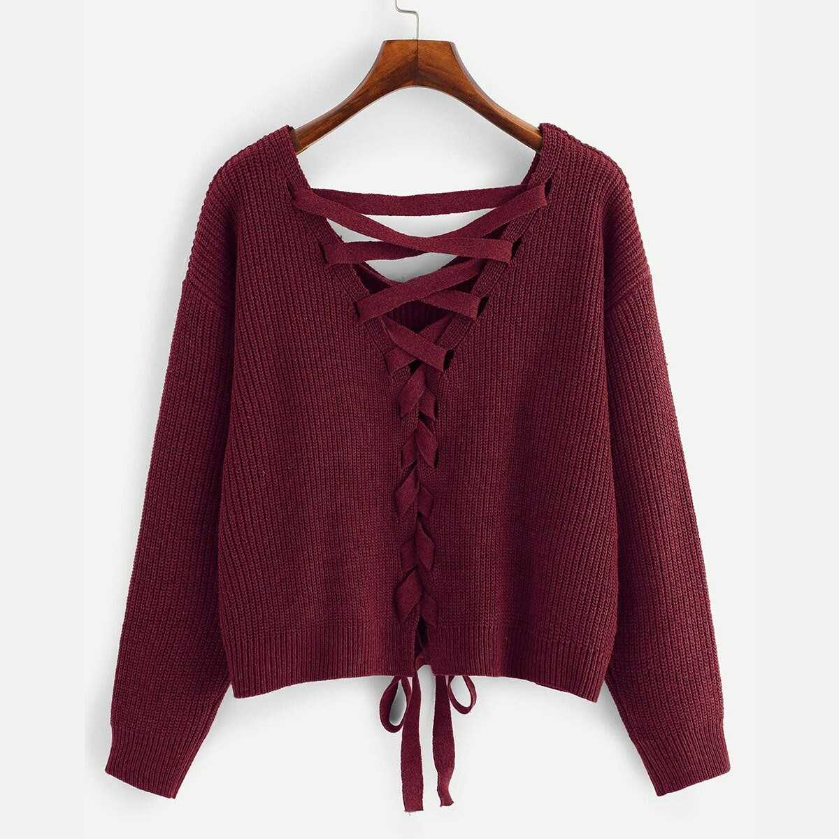 3b03c44ec251 Lace-up Drop Shoulder Sweater Shein | GOOFASH SHOP