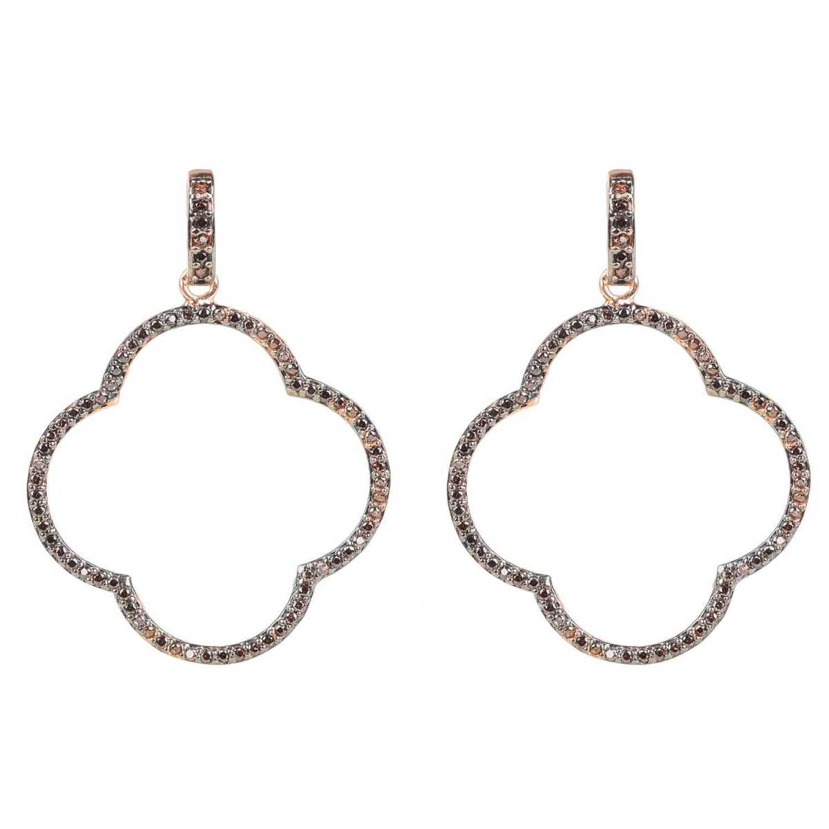 Latelita - Large Open Clover Drop Earrings Chocolate Rosegold - Wolf And Badger - GOOFASH