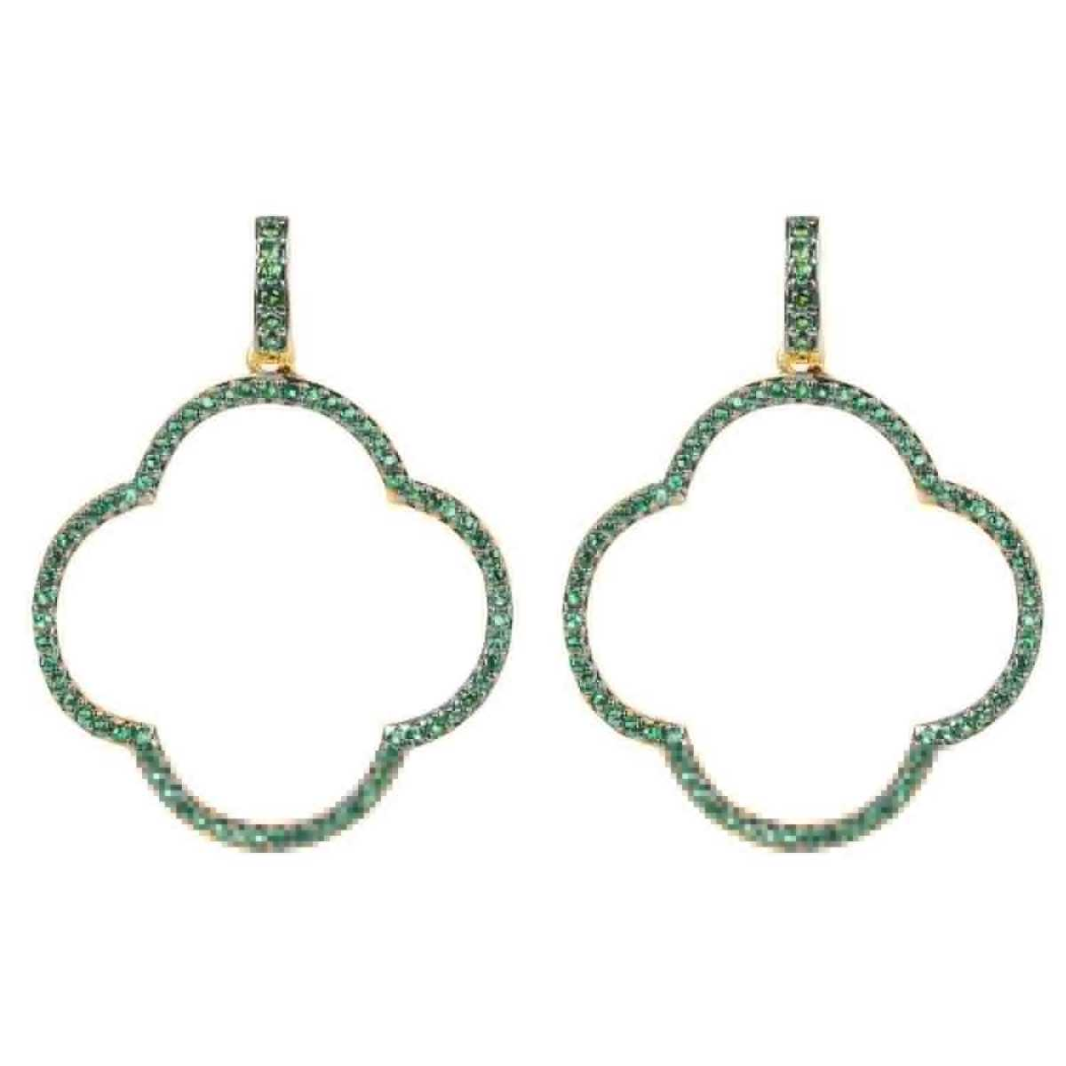 Latelita - Large Open Clover Drop Earrings Green Gold - Wolf And Badger - GOOFASH