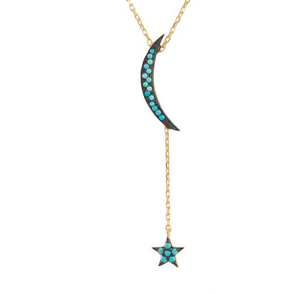 Latelita - Small Moon & Star Necklace Gold Turquoise - Wolf And Badger - GOOFASH