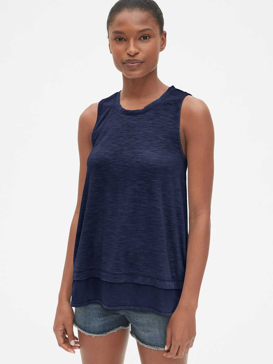 Layered Mix-Fabric Tank Top Dark Night - Gap - GOOFASH