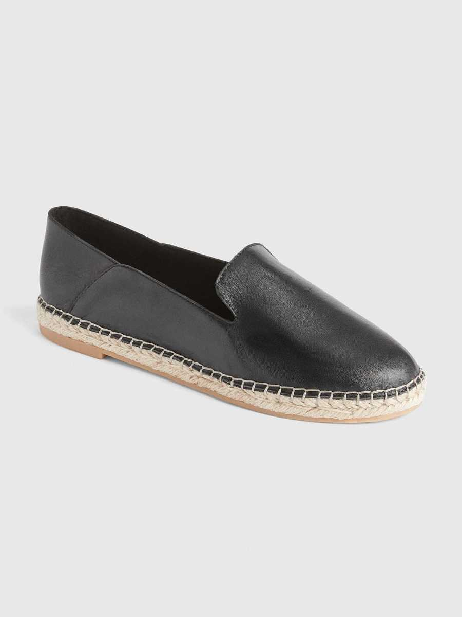 Leather Loafer Espadrilles with Collapsible Back Black - Gap - GOOFASH