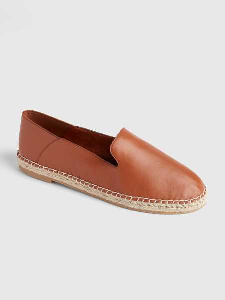 Leather Loafer Espadrilles with Collapsible Back Cognac Brown - Gap - GOOFASH