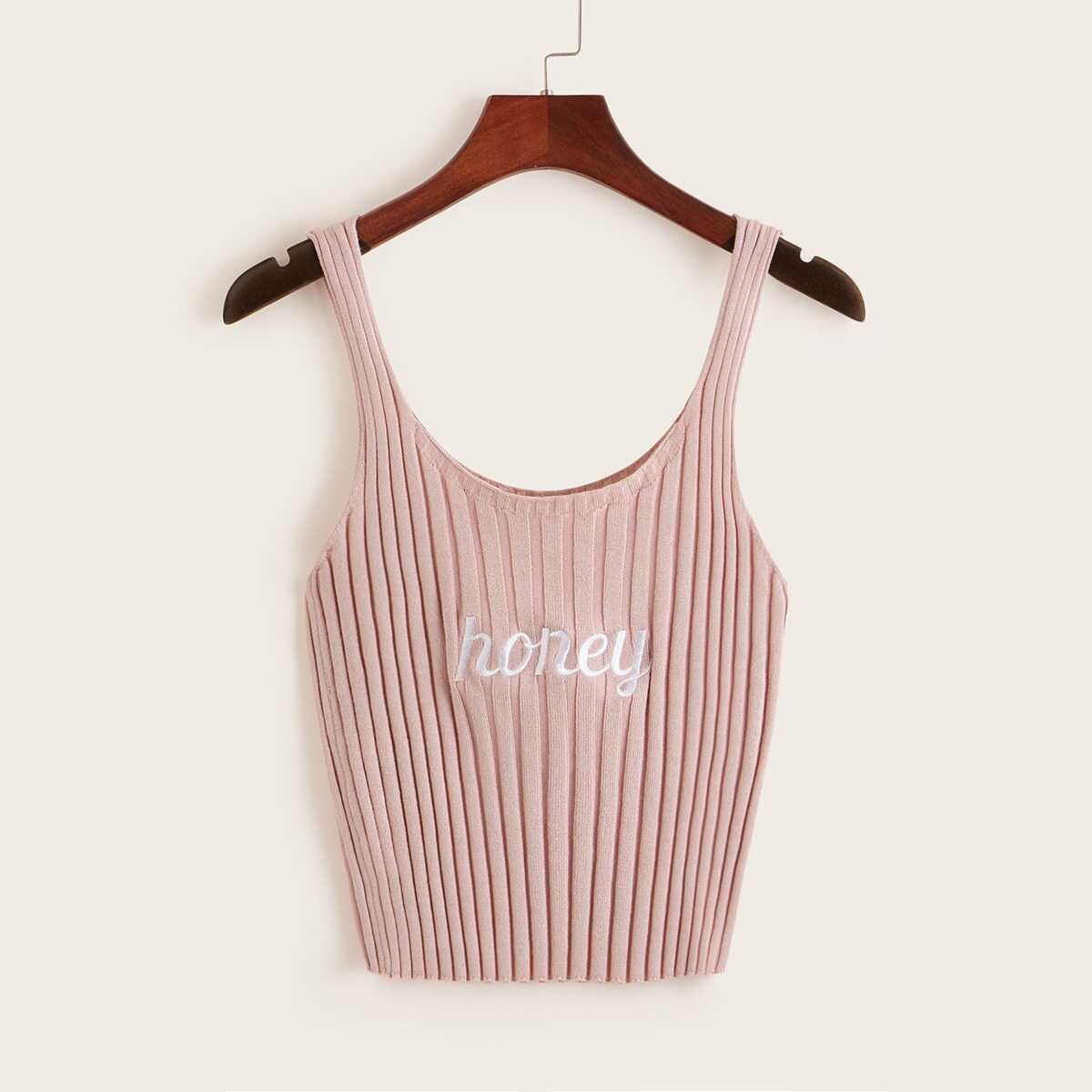 dc0bbe6bb013 Letter Embroidered Rib-knit Crop Top Shein | GOOFASH SHOP