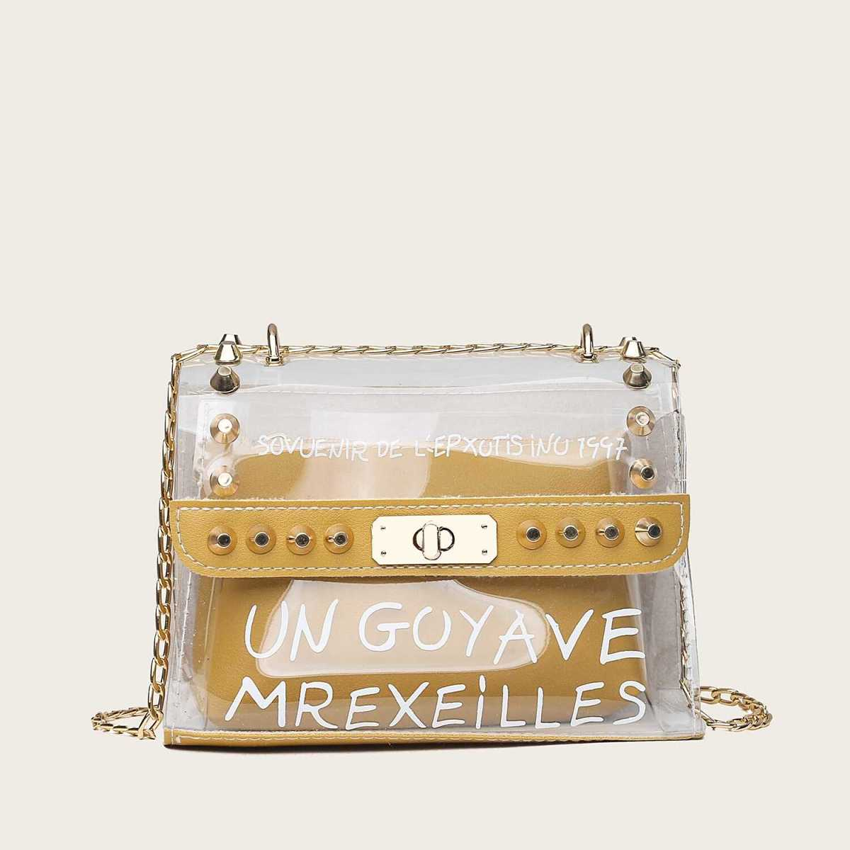 Letter Print Clear Bag With Inner Pouch - Shein - GOOFASH