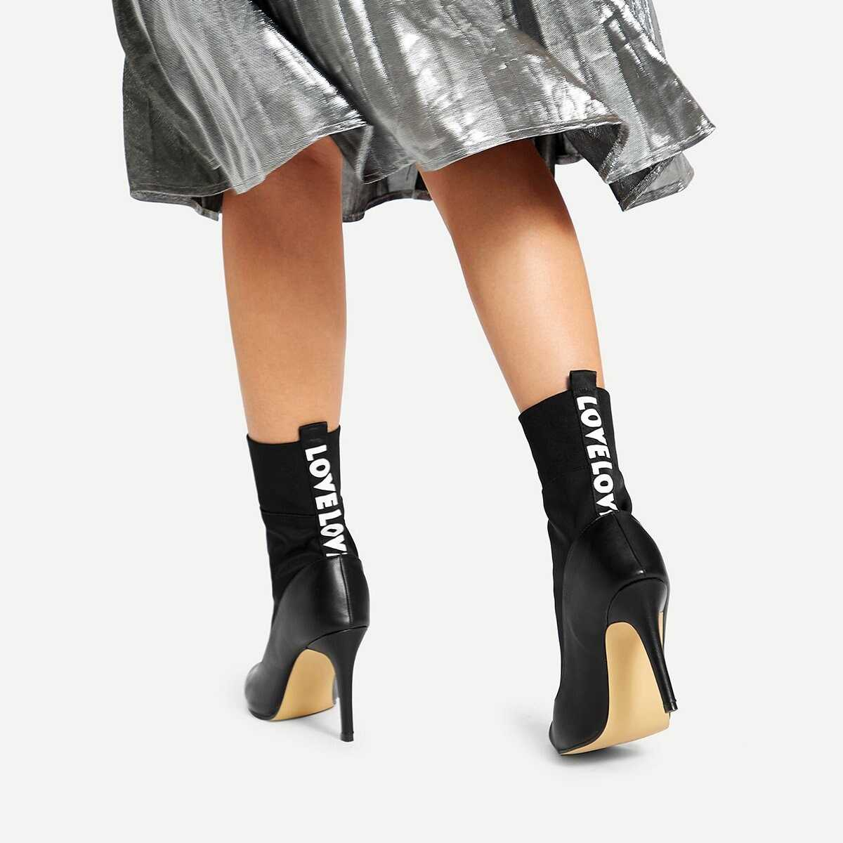 Letter Tape Sock Boots - Shein - GOOFASH