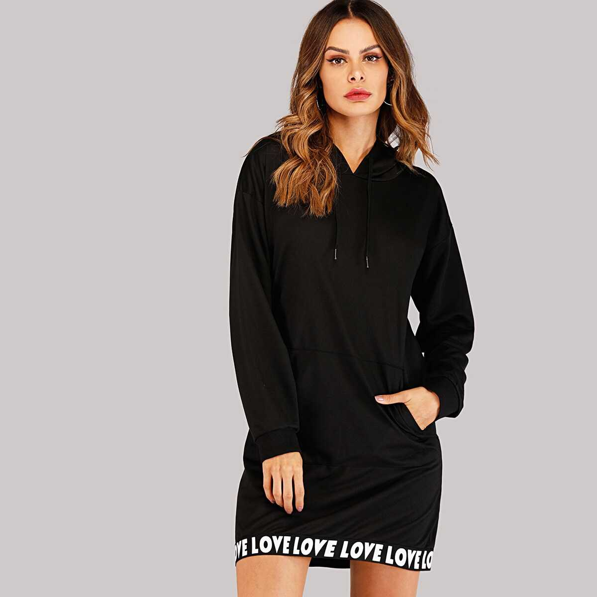 Letter Taped Hooded Sweatshirt Dress - Shein - GOOFASH