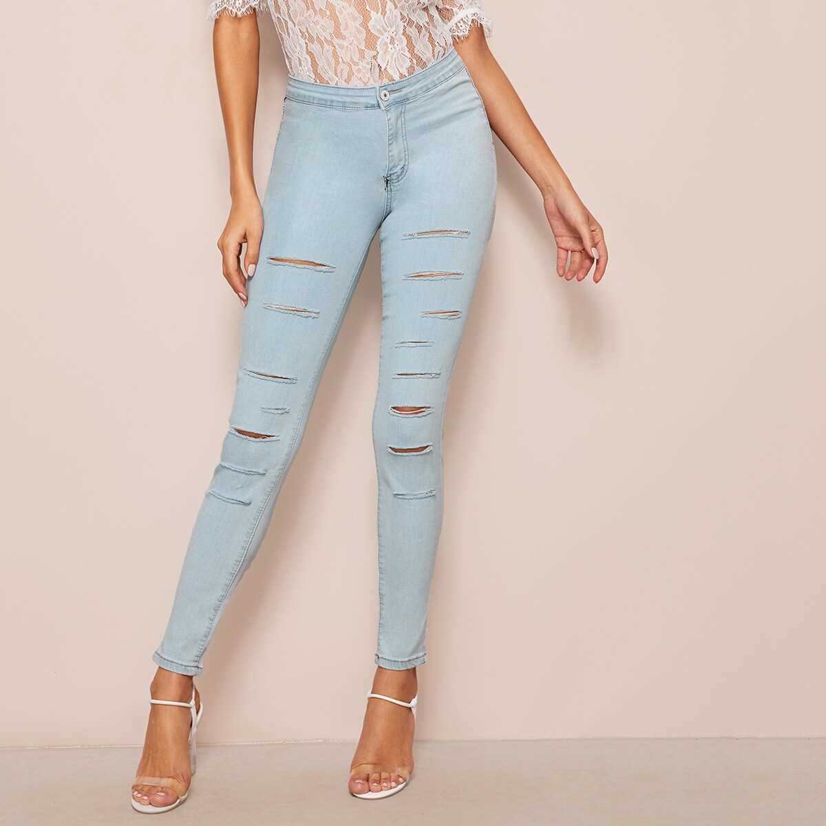 Light Wash Rips Detail Skinny Jeans - Shein - GOOFASH